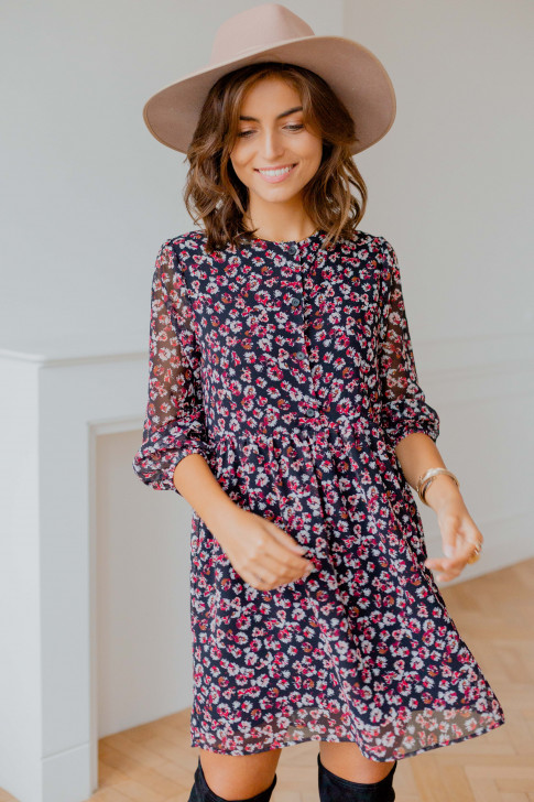 Olive Dress in a red flower print