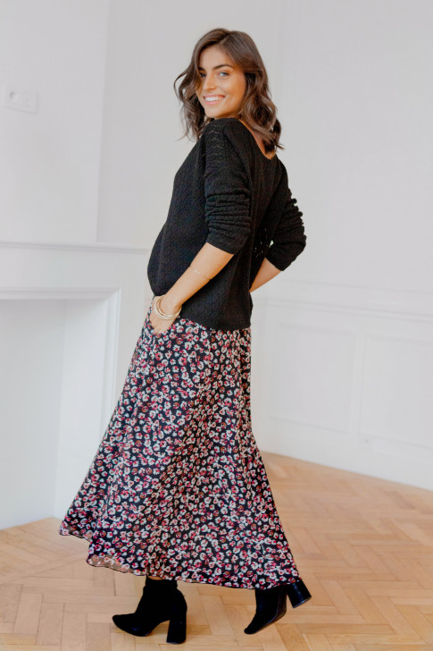 Adeline in a red flower print Skirt