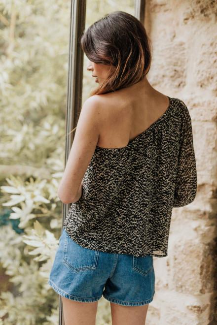 Adeline in a red flower print Skirt