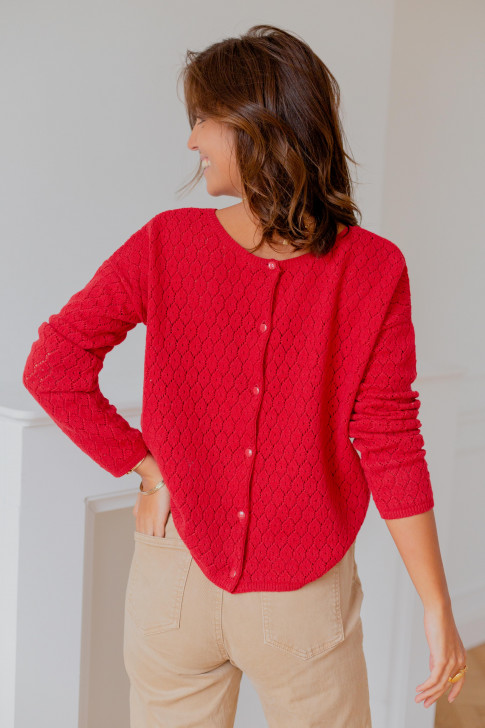 Red Flore reversible sweater