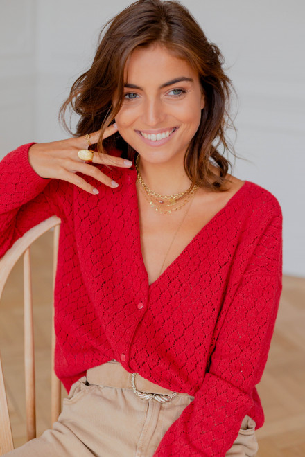 Flore reversible sweater in red