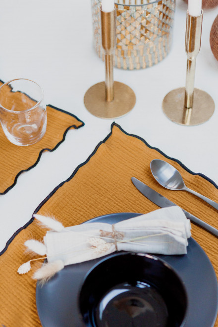 Table set in mustard yellow