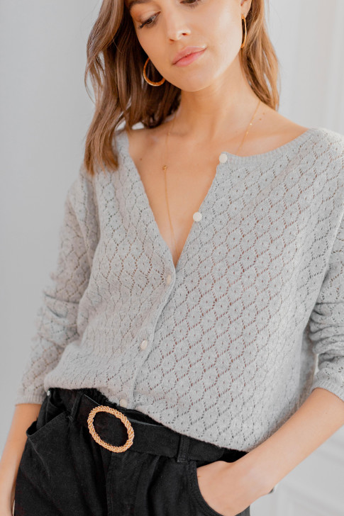 Reversible grey Flora sweater