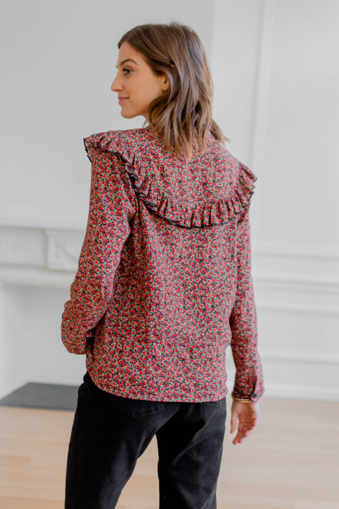 Agathe red floral print shirt
