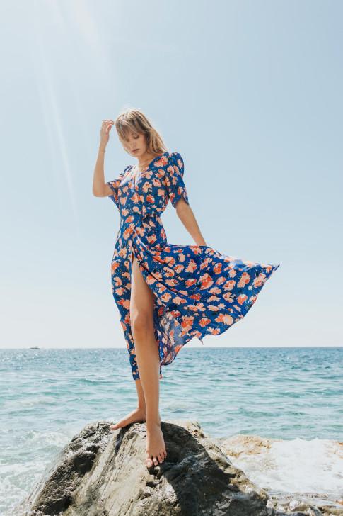 Vintage flower print scrunchie